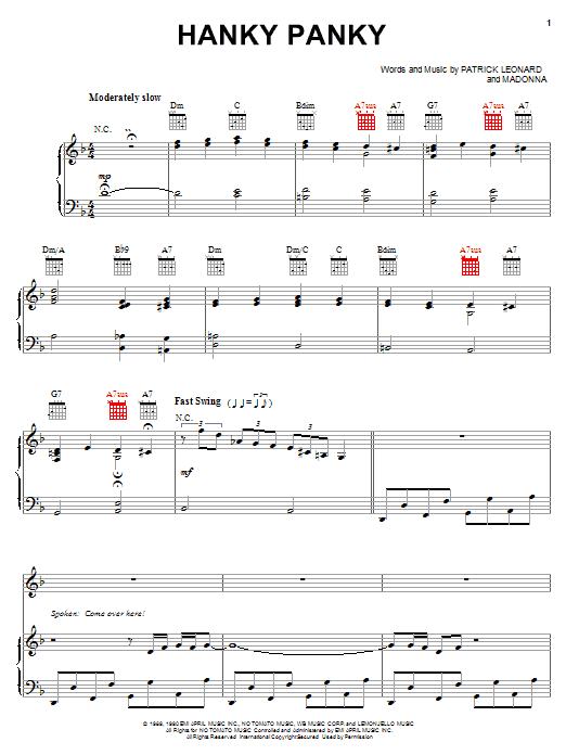 Hanky Panky (Piano, Vocal & Guitar (Right-Hand Melody))