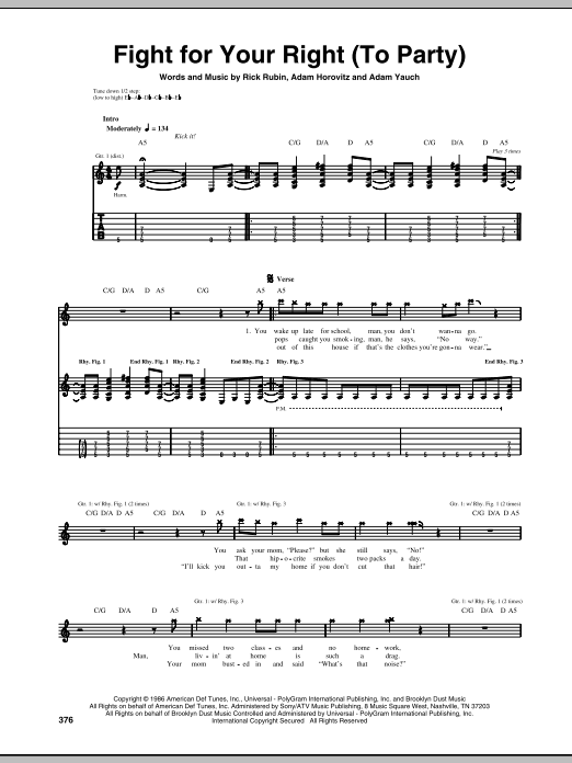 Tablature guitare Fight For Your Right (To Party) de Beastie Boys - Tablature Guitare