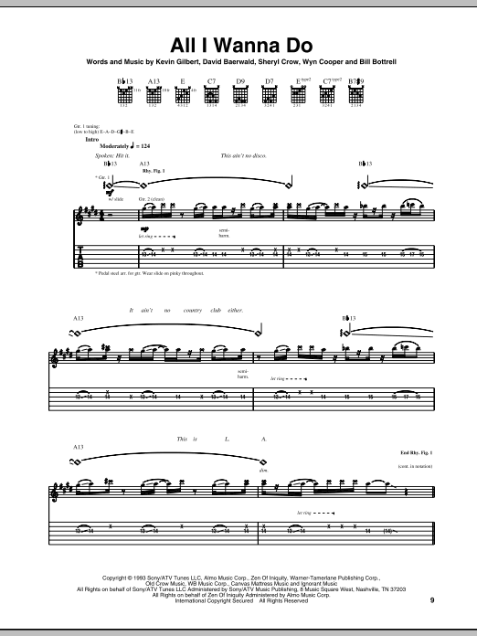 Tablature guitare All I Wanna Do de Sheryl Crow - Tablature Guitare