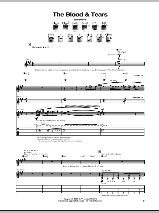 The Blood & Tears Sheet Music
