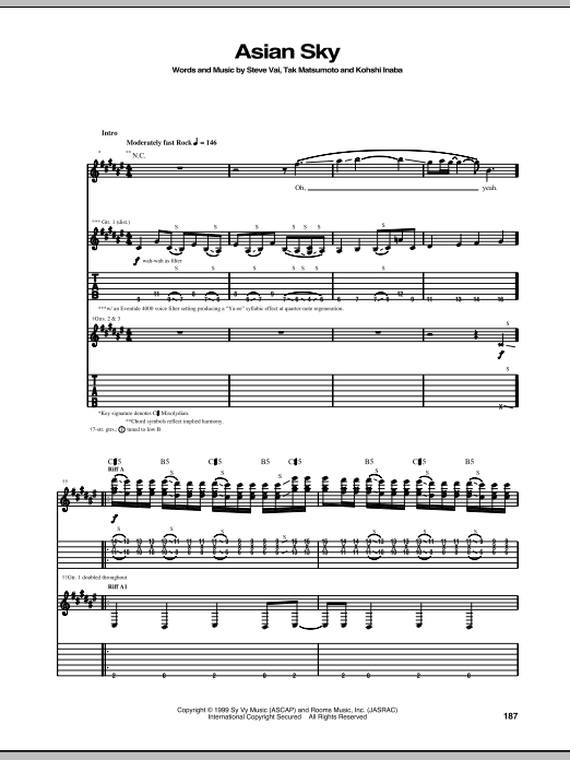 Tablature guitare Asian Sky de Steve Vai - Tablature Guitare