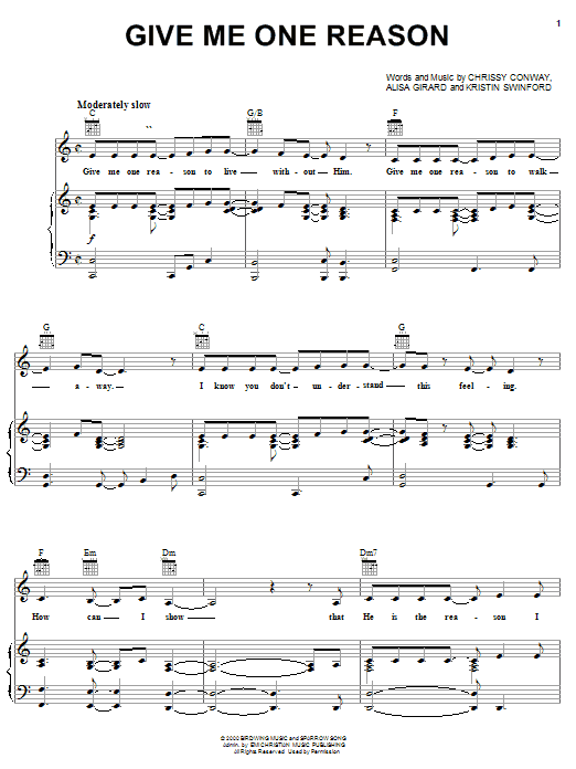 Give Me One Reason (Piano, Vocal & Guitar (Right-Hand Melody))