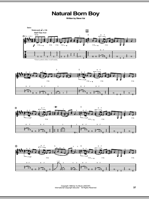 Tablature guitare Natural Born Boy de Steve Vai - Tablature Guitare