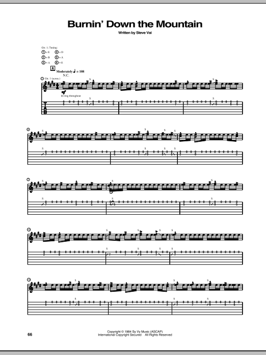 Tablature guitare Burnin' Down The Mountain de Steve Vai - Tablature Guitare