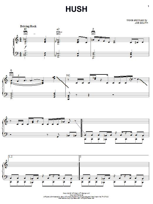 Hush (Piano, Vocal & Guitar (Right-Hand Melody))