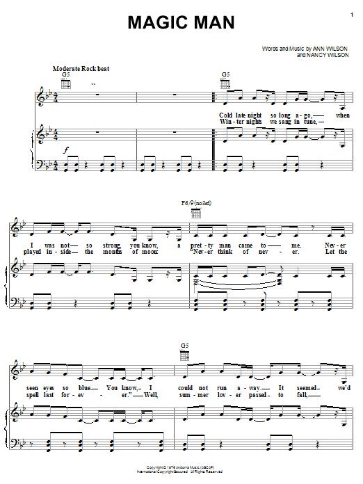 Magic Man (Piano, Vocal & Guitar (Right-Hand Melody))