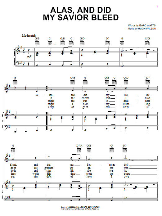 Alas, And Did My Savior Bleed (Piano, Vocal & Guitar (Right-Hand Melody))