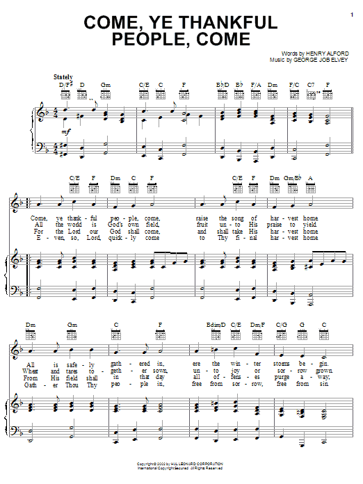 Come, Ye Thankful People, Come (Piano, Vocal & Guitar (Right-Hand Melody))