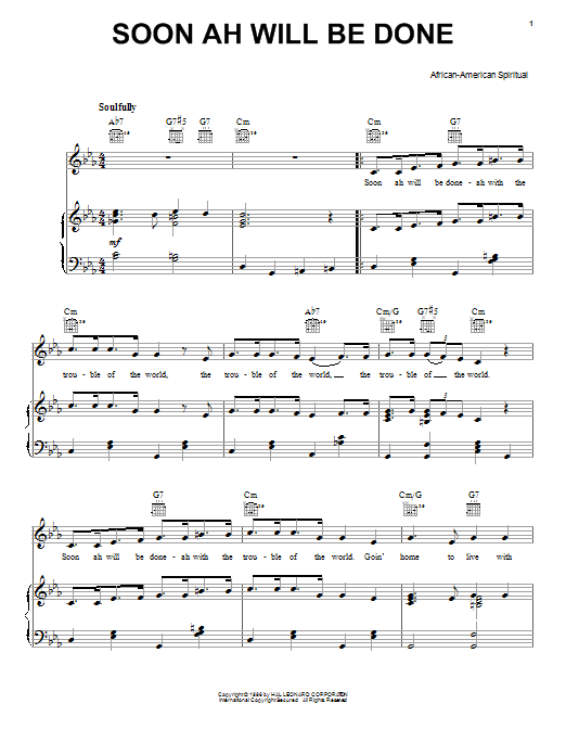 Partition piano Soon Ah Will Be Done de African-American Spiritual - Piano Voix Guitare (Mélodie Main Droite)