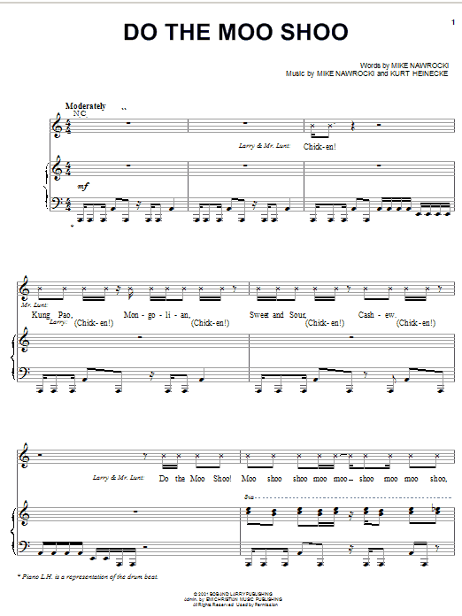 Do The Moo Shoo (Piano, Vocal & Guitar (Right-Hand Melody))