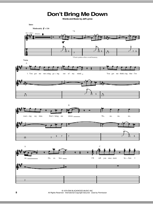Don't Bring Me Down (Guitar Tab)