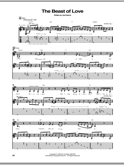 The Beast Of Love Sheet Music