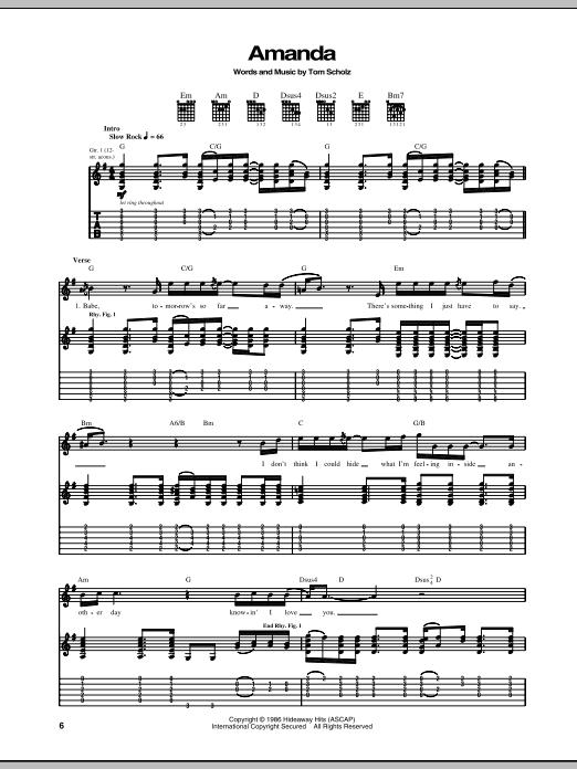 Amanda Sheet Music