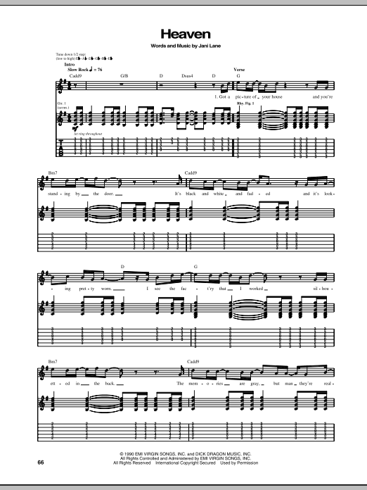 Tablature guitare Heaven de Warrant - Tablature Guitare
