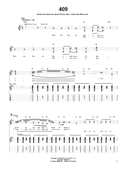 Tablature guitare 409 de The Beach Boys - Tablature Guitare