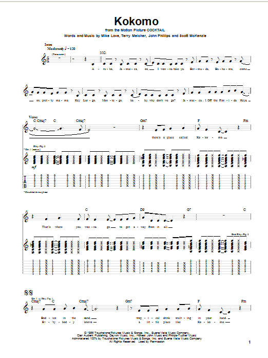 Tablature guitare Kokomo (from Cocktail) de The Beach Boys - Tablature Guitare