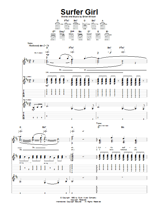Surfer Girl by The Beach Boys - Guitar Tab - Guitar Instructor - photo#49