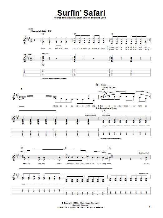 Tablature guitare Surfin' Safari de The Beach Boys - Tablature Guitare