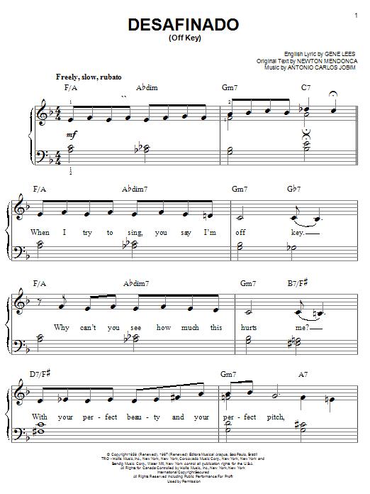 Partition piano Desafinado (Slightly Out Of Tune) de Antonio Carlos Jobim - Piano Facile