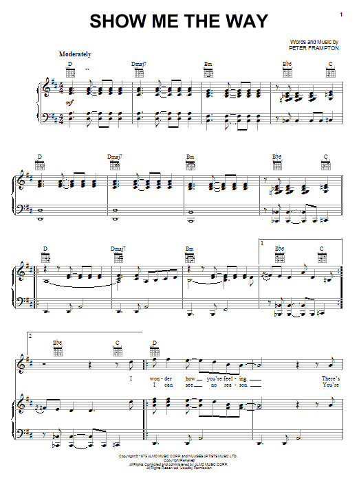 Show Me The Way (Piano, Vocal & Guitar (Right-Hand Melody))