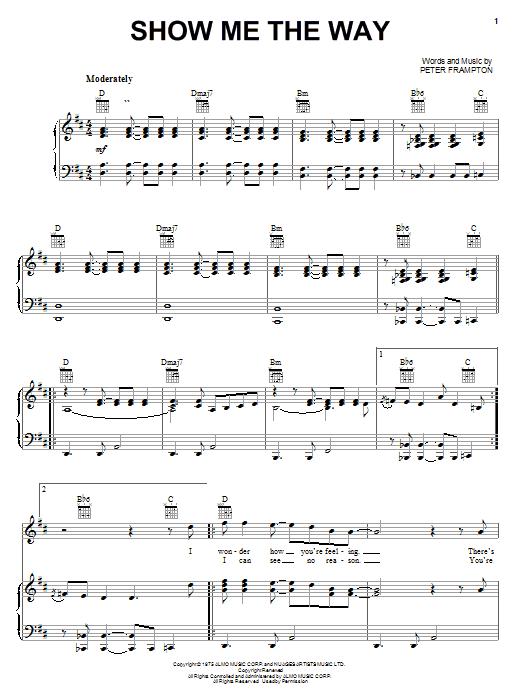Partition piano Show Me The Way de Peter Frampton - Piano Voix Guitare (Mélodie Main Droite)