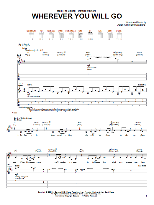 Wherever You Will Go Sheet Music