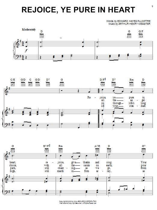 Rejoice, Ye Pure In Heart (Piano, Vocal & Guitar (Right-Hand Melody))