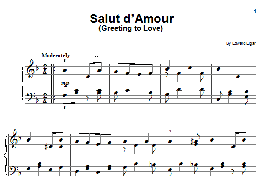 Partition piano Salut D'amour (Greeting To Love) de Edward Elgar - Piano Facile
