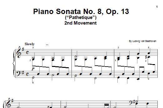 "Partition piano Piano Sonata No. 8, Op. 13 (""Pathetique""), 2nd Movement de Ludwig van Beethoven - Piano Facile"