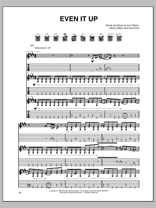 Tablature guitare Even It Up de Heart - Tablature Guitare