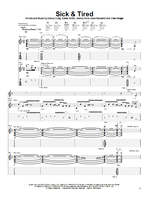 Sick & Tired (Guitar Tab)