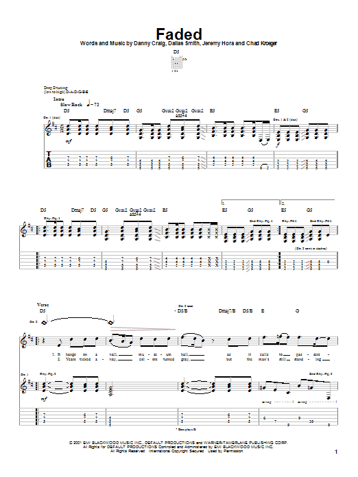 Tablature guitare Faded de Default - Tablature Guitare