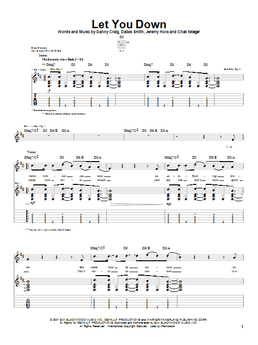 Let You Down (Guitar Tab)