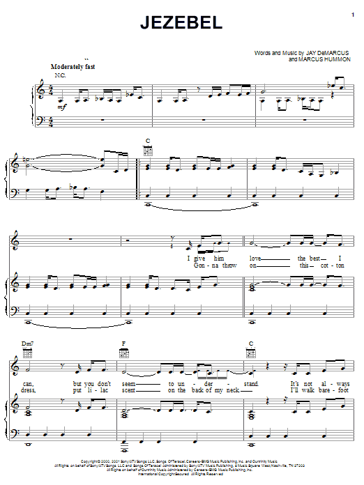 Partition piano Jezebel de Chely Wright - Piano Voix Guitare (Mélodie Main Droite)