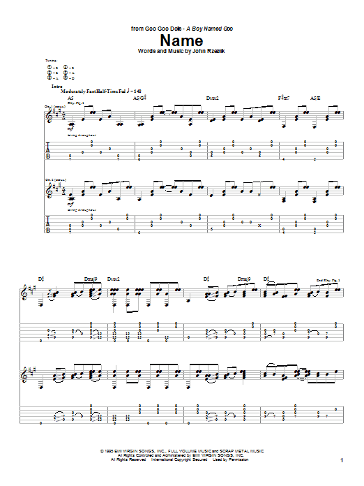 Name By Goo Goo Dolls Guitar Tab Guitar Instructor
