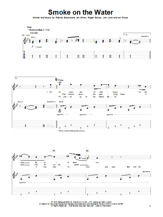 Smoke On The Water Guitar Tab by Deep Purple (Guitar Tab u2013 20144)