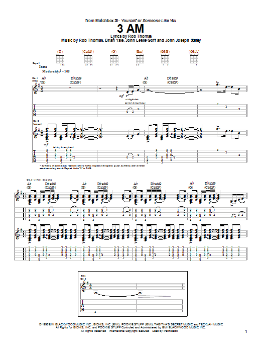 Tablature guitare 3 AM de Matchbox Twenty - Tablature Guitare