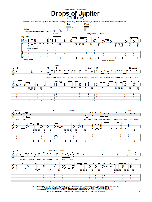 Tablature guitare Drops Of Jupiter (Tell Me) de Train - Tablature Guitare