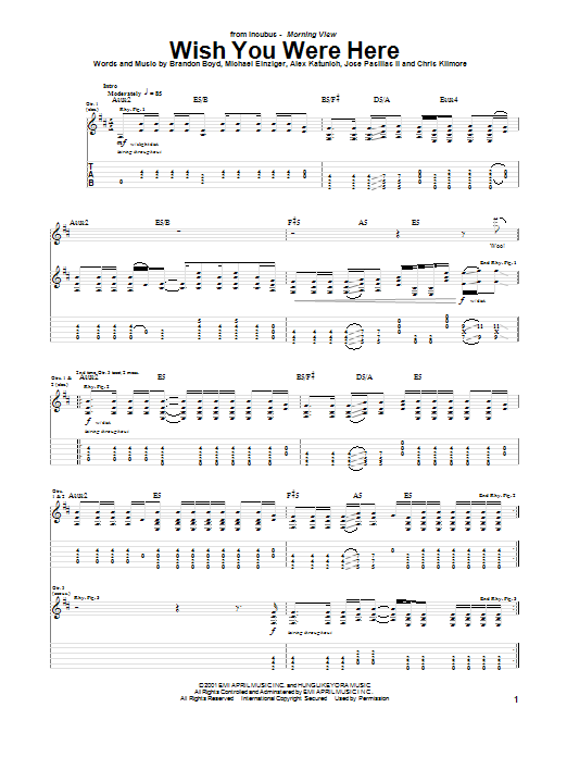 Tablature guitare Wish You Were Here de Incubus - Tablature Guitare