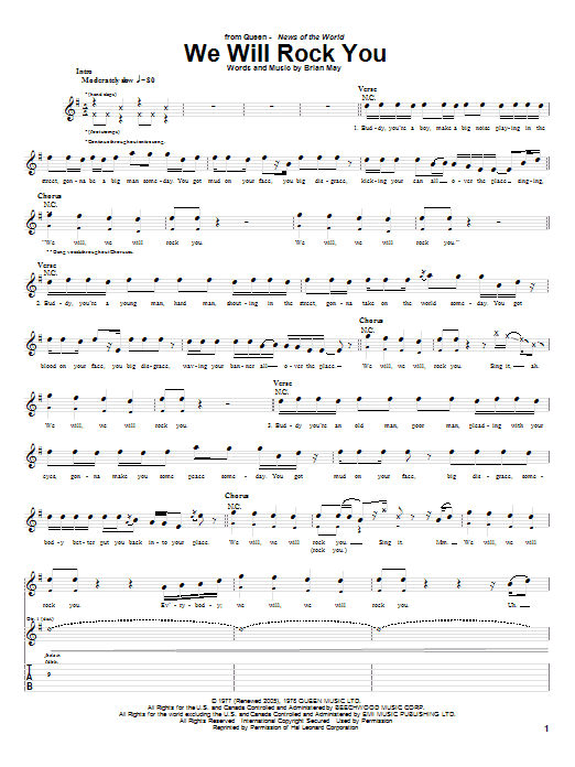 Tablature guitare We Will Rock You de Queen - Tablature Guitare