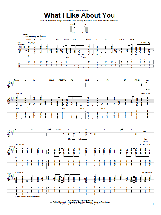 What I Like About You Sheet Music