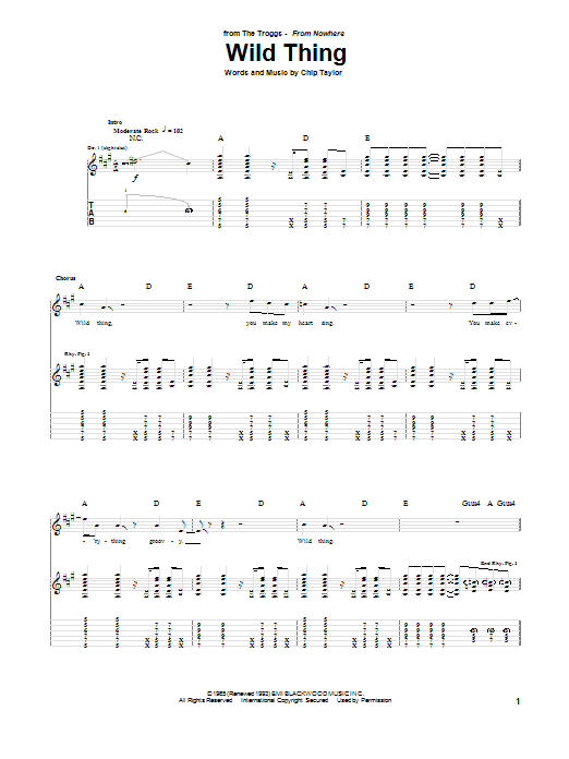 Tablature guitare Wild Thing de The Troggs - Tablature Guitare