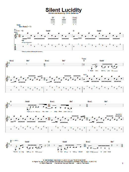 Silent Lucidity Sheet Music