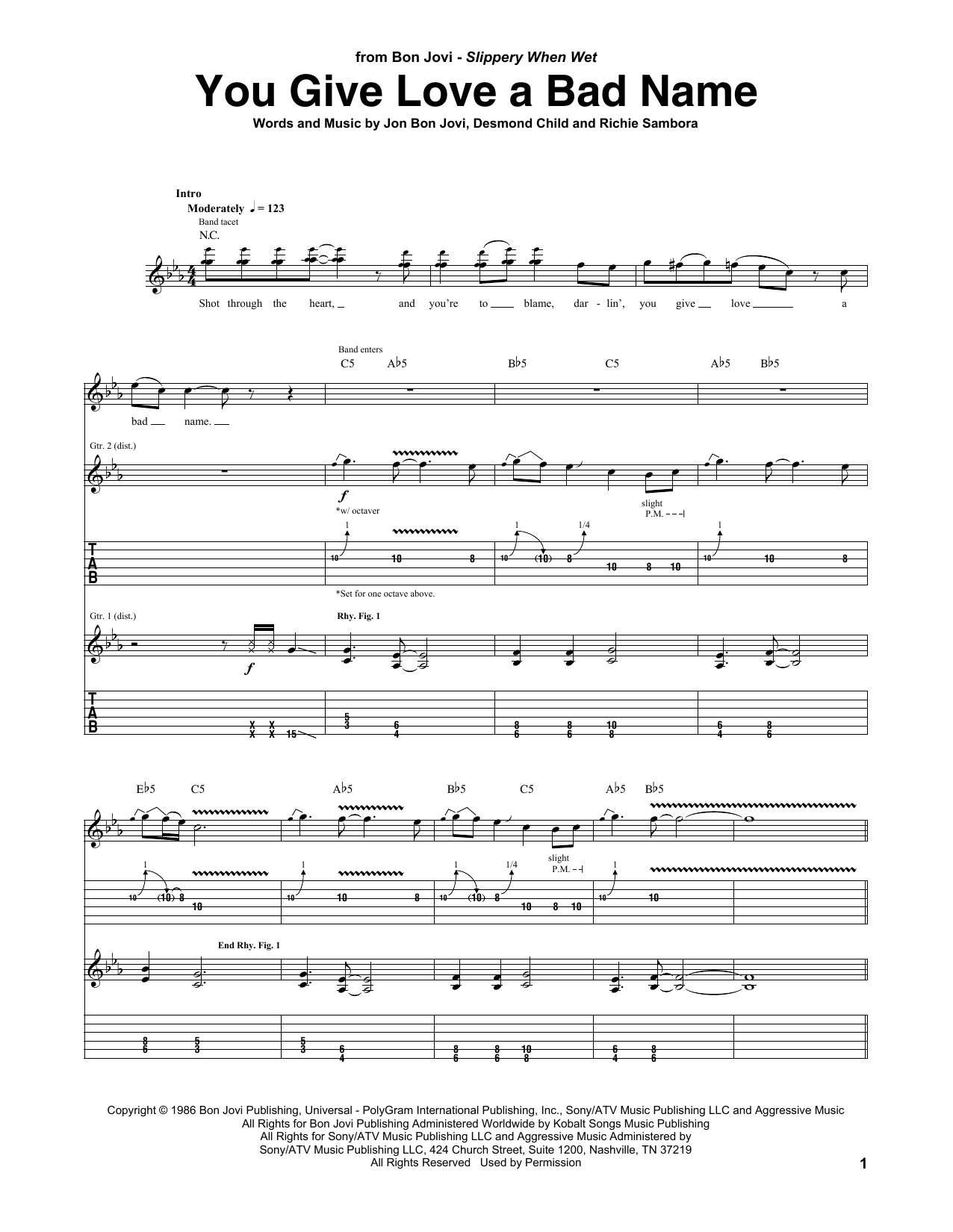 You Give Love A Bad Name Sheet Music