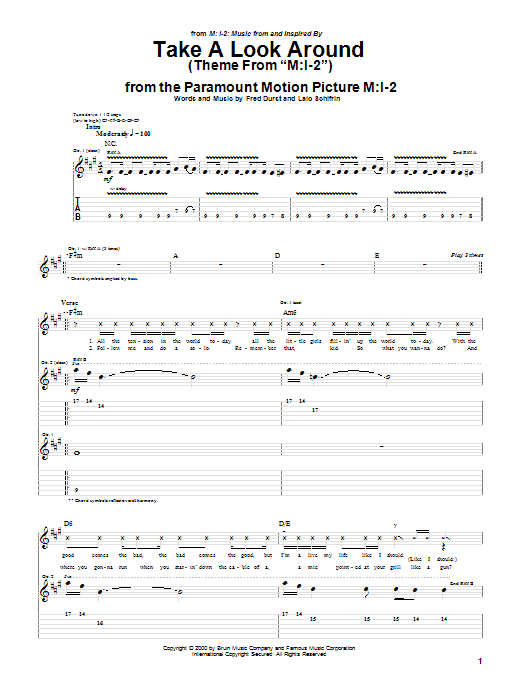 "Take A Look Around (Theme From ""M:I-2"") Sheet Music"