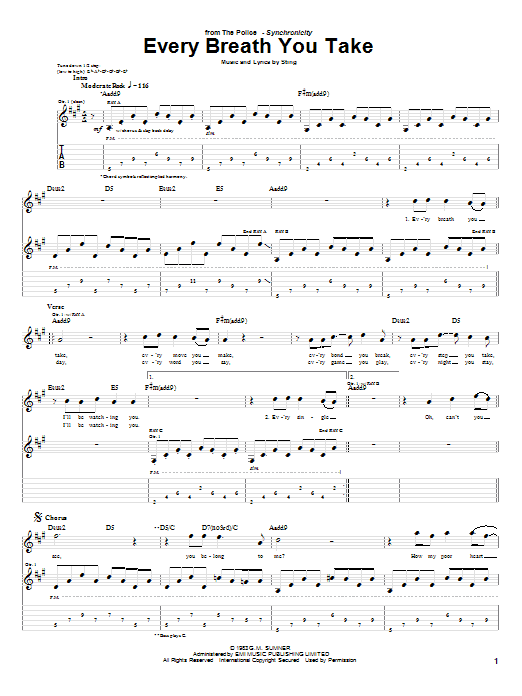 Tablature guitare Every Breath You Take de The Police - Tablature Guitare