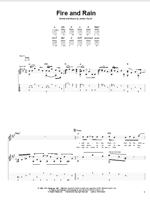 Fire And Rain (Guitar Tab)
