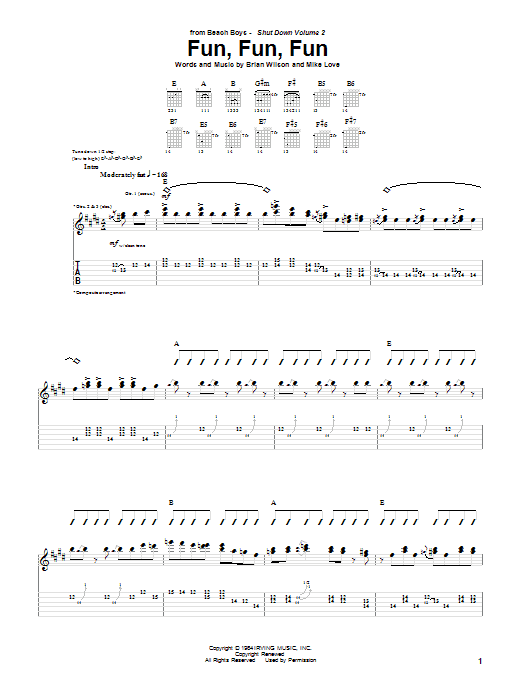 Tablature guitare Fun, Fun, Fun de The Beach Boys - Tablature Guitare