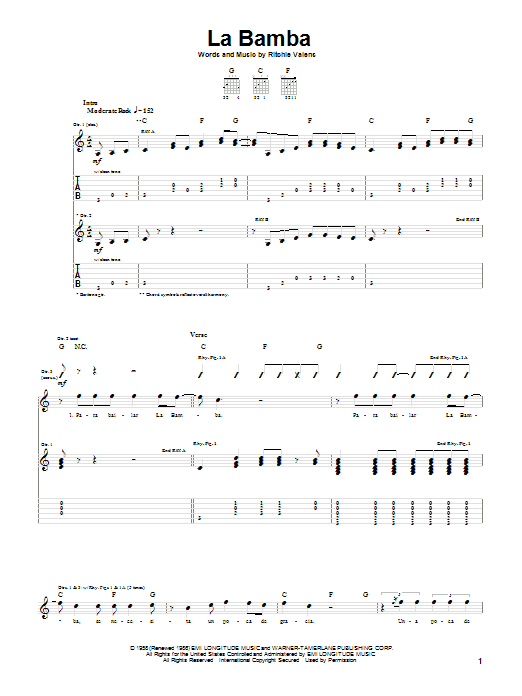 Tablature guitare La Bamba de Los Lobos - Tablature Guitare