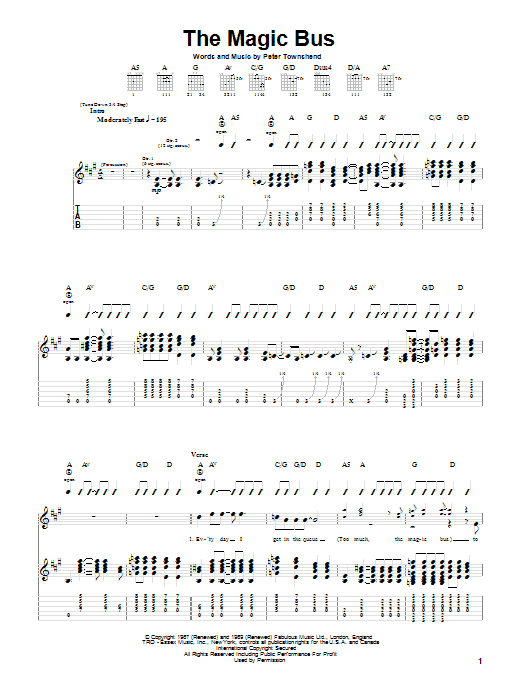 Magic Bus Sheet Music